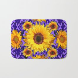 Purple Patterns Yellow Sunflowers Abstract Art Bath Mat
