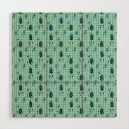 country blue flowers pattern Wood Wall Art