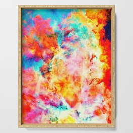 Colorful Abstract Nebula Serving Tray