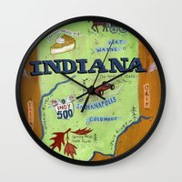 indiana Wall Clocks featuring INDIANA by Christiane Engel
