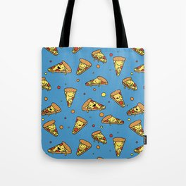 Cute Happy Smiling Pizza Pattern on blue background Tote Bag