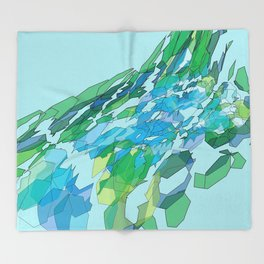 Polygonal lake with pines Throw Blanket