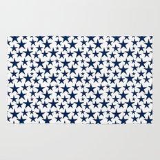 Blue stars on white background illustration Rug