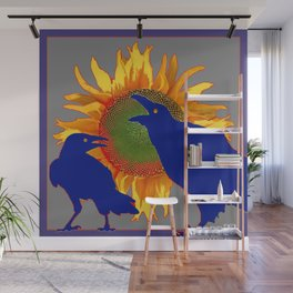 Blue Color Bickering Crows Sunflower Grey Art Wall Mural