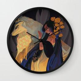 Blue gold drop Wall Clock