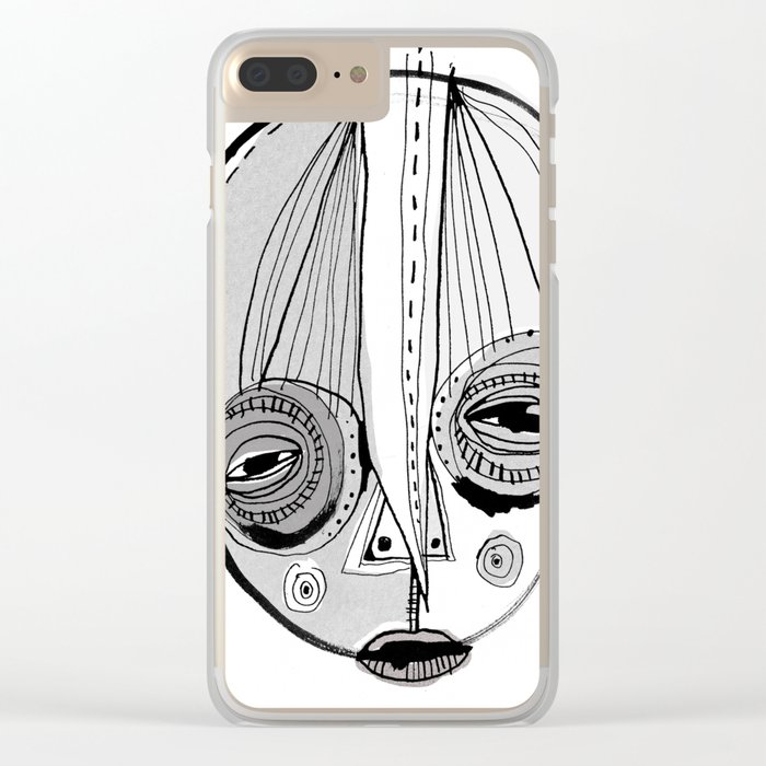 'Face II' Clear iPhone Case