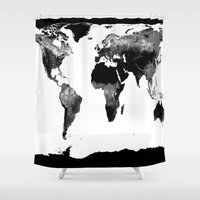 world map Shower Curtains featuring World Map  Black & White by WhimsyRomance&Fun