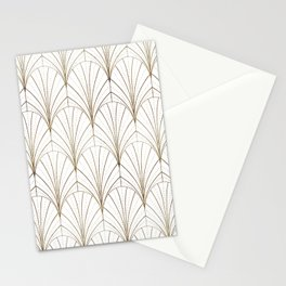 Art Deco Waterfalls // White & Gold Stationery Cards