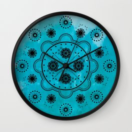Turquoise Mechanical Flowers Wall Clock