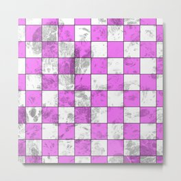 Textured Pink And White Squares Metal Print