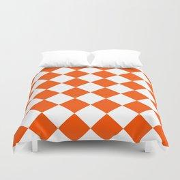 Large Diamonds - White and Dark Orange Duvet Cover