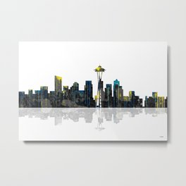 Seattle Washington Skyline BW 1 Metal Print