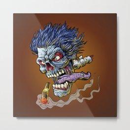 Zombie Flying head Metal Print