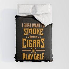 Smoker Smoking Smoke Cigars Play Golf Golfer Gift Comforters