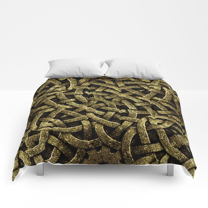 Ancient Style Arabesque Stone Ornament in Gold Tones Comforters