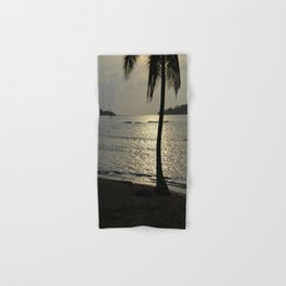 the sunset by the palm tree Hand & Bath Towel