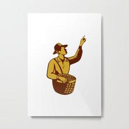 Fruit Picker Worker Pointing Woodcut Metal Print