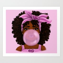 Bubble Gum Portrait Art Print