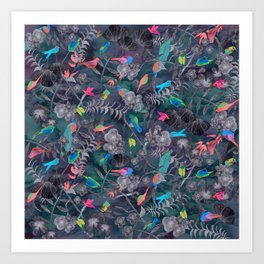 Birds and Flowers Color Pencil Art Print