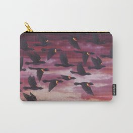 red-winged blackbird flock in flight Carry-All Pouch