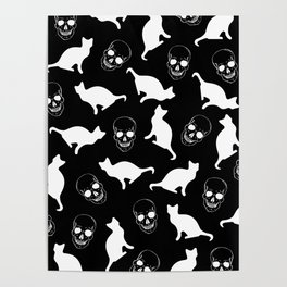 Skulls, Cats, Black and White, Pattern Poster