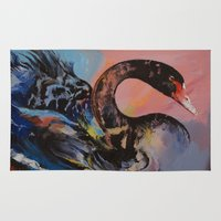 black swan Area & Throw Rugs featuring Black Swan by Michael Creese