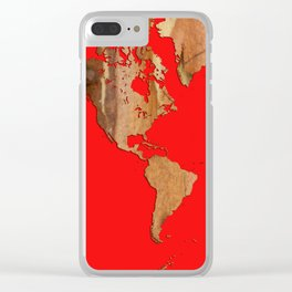 Wood bark - Red - Organic World Map Series Clear iPhone Case