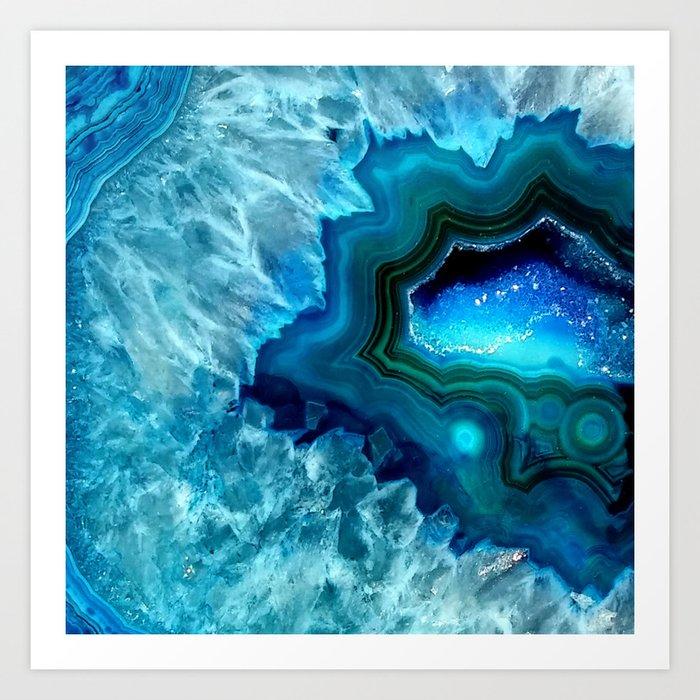 Teal Blue Agate II Kunstdrucke