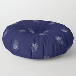 King Protea Outline - Navy and White Floor Pillow