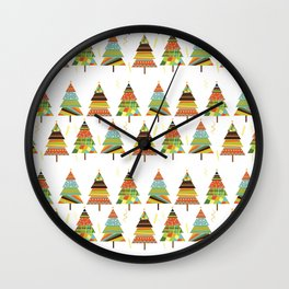 Abstract pine tree forest seamless pattern background Wall Clock