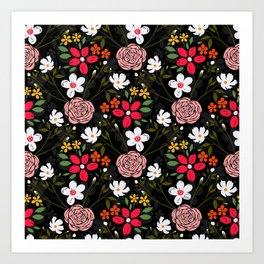 Pretty White Pink Floral Black Brush Strokes Pattern Art Print