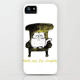 Hands are for Stroking (Yellow) iPhone Case