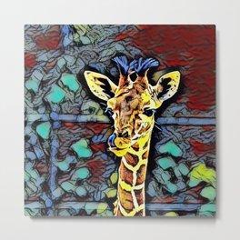 Color Kick - Baby Giraffe Metal Print