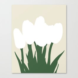 White Tulips | Abstract Illustration Canvas Print