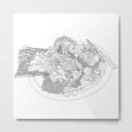 Beautiful Sashimi Set - Line Art Metal Print