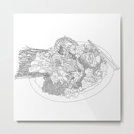 Beautiful Sashimi Set - Line Art Metal Print