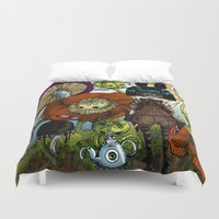 monster inc Duvet Covers featuring Wonderland Inc by Li Boggs