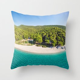 The beaches Kastani and Milia of Skopelos island from drone, Greece Throw Pillow