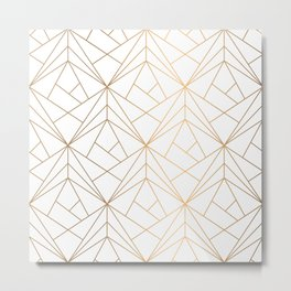 Geometric Gold Pattern With White Shimmer Metal Print