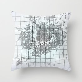 Sioux Falls SD USA White City Map Throw Pillow