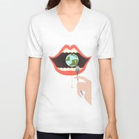 soul eater V-neck T-shirts featuring Eater by Mira Maijala