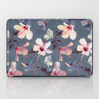 grey iPad Cases featuring Butterflies and Hibiscus Flowers - a painted pattern by micklyn
