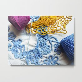Romanian Point Lace Blue Lace Photography  Metal Print