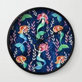 Merry Mermaids in Watercolor Wall Clock