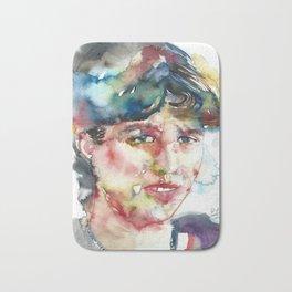 SYLVIA PLATH - watercolor portrait Bath Mat