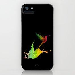 Colors Humming Bird (black bg) iPhone Case