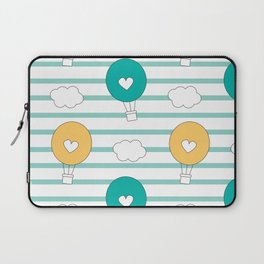 cute lovely cartoon hot air balloons pattern illustration Laptop Sleeve