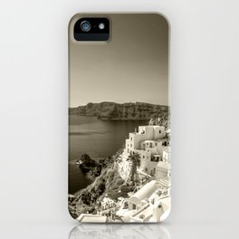 Santorini Seascape in sepia iPhone Case