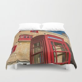 Red telephone cabin in the old town of Vialleta Duvet Cover