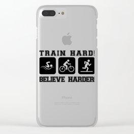 Triathlon Train Hard Gift Clear iPhone Case